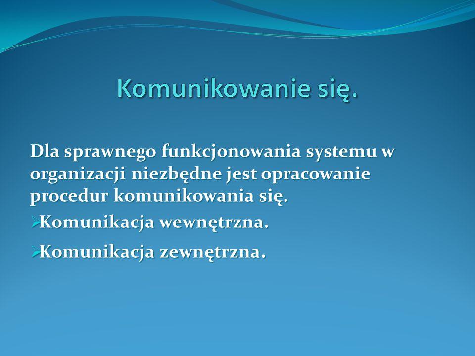 Komunikowanie się. Dla sprawnego funkcjonowania systemu w organizacji niezbędne jest opracowanie procedur komunikowania się.