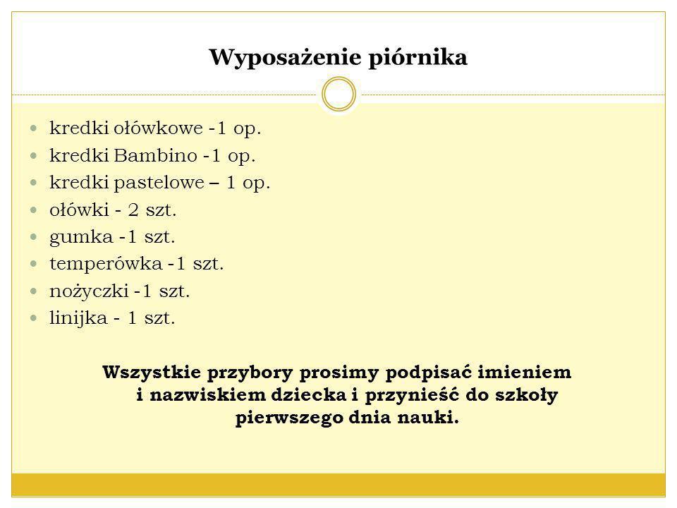 Wyposażenie piórnika kredki ołówkowe -1 op. kredki Bambino -1 op.
