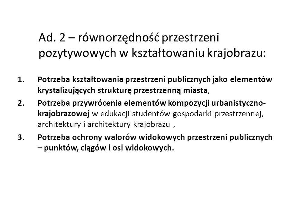 Ad. 2 – równorzędność przestrzeni pozytywowych w kształtowaniu krajobrazu: