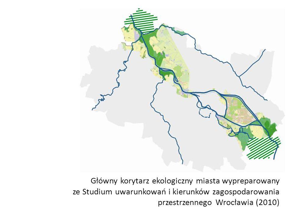 Główny korytarz ekologiczny miasta wypreparowany ze Studium uwarunkowań i kierunków zagospodarowania przestrzennego Wrocławia (2010)