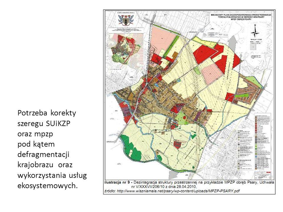 Potrzeba korekty szeregu SUiKZP oraz mpzp pod kątem defragmentacji krajobrazu oraz wykorzystania usług ekosystemowych.