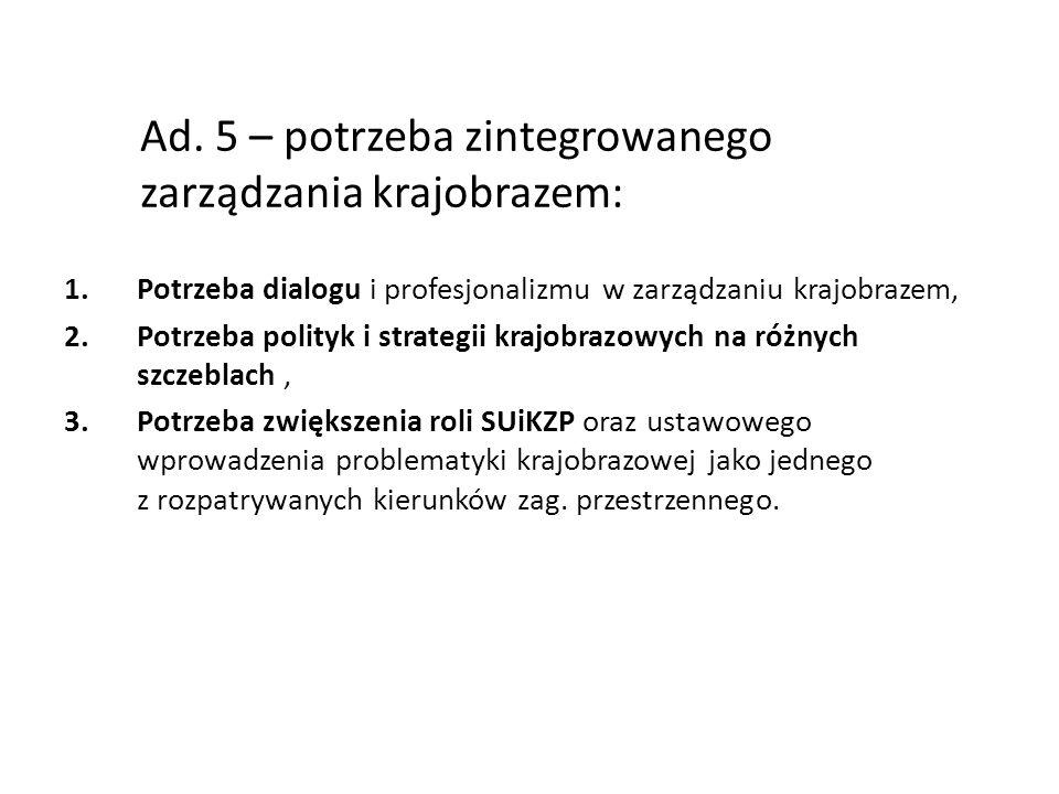 Ad. 5 – potrzeba zintegrowanego zarządzania krajobrazem: