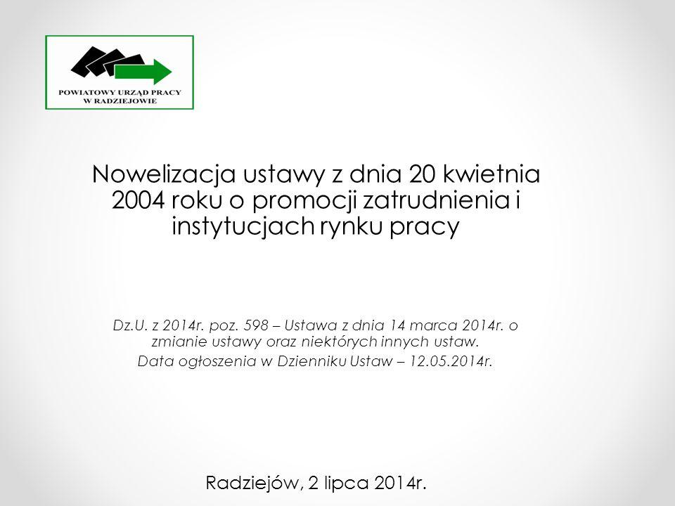 Data ogłoszenia w Dzienniku Ustaw – 12.05.2014r.