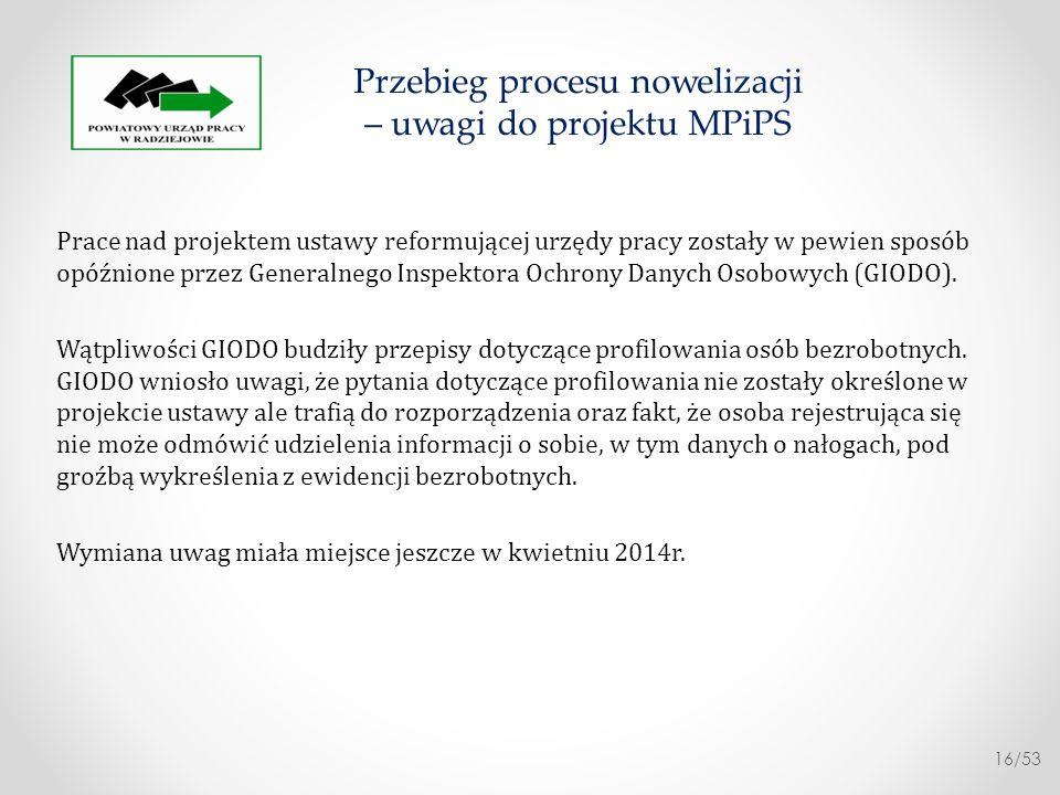 Przebieg procesu nowelizacji – uwagi do projektu MPiPS