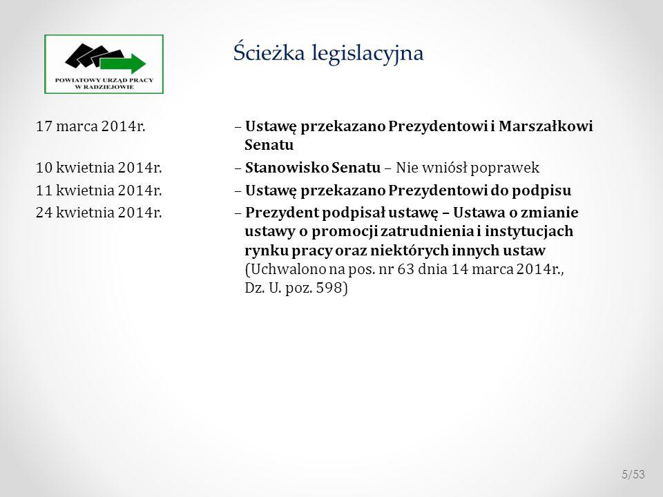 Ścieżka legislacyjna 17 marca 2014r. – Ustawę przekazano Prezydentowi i Marszałkowi Senatu.