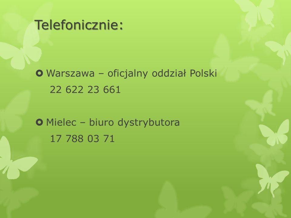 Telefonicznie: Warszawa – oficjalny oddział Polski 22 622 23 661