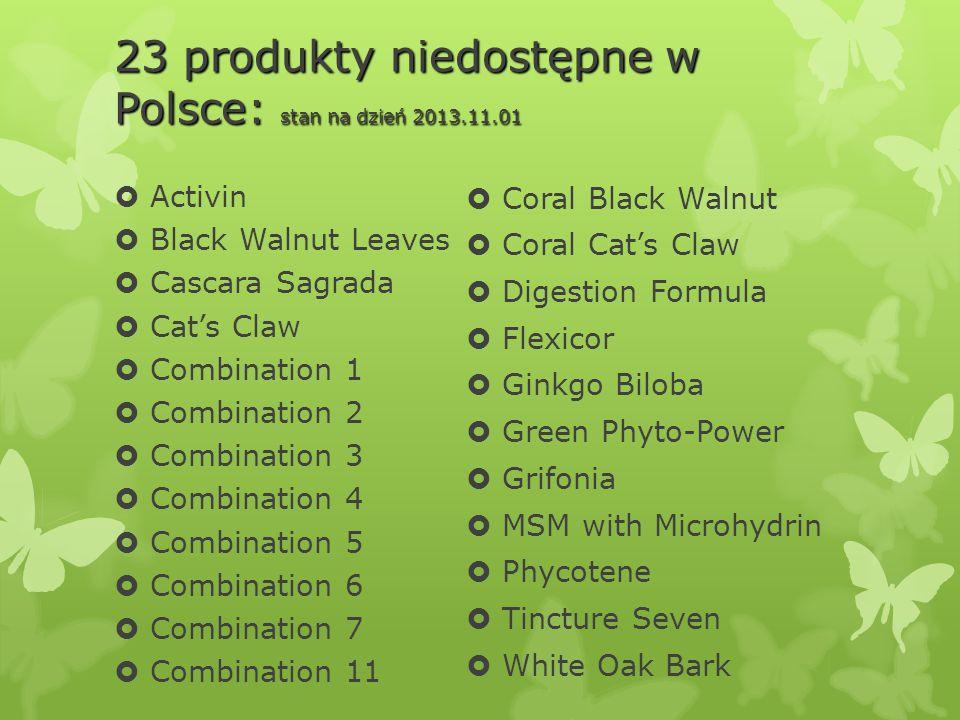 23 produkty niedostępne w Polsce: stan na dzień 2013.11.01