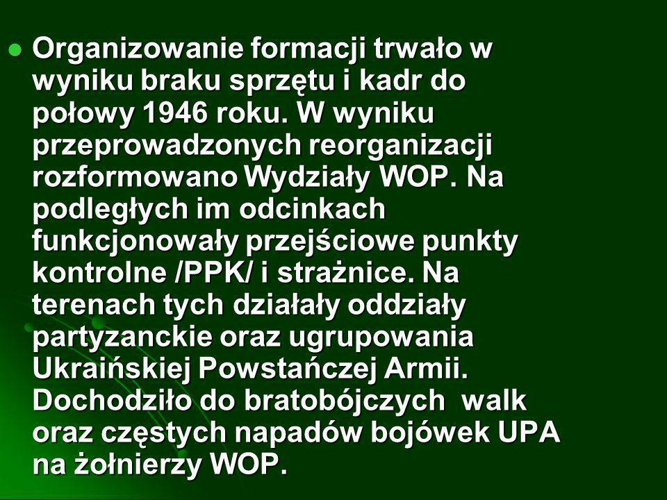 Organizowanie formacji trwało w wyniku braku sprzętu i kadr do połowy 1946 roku.