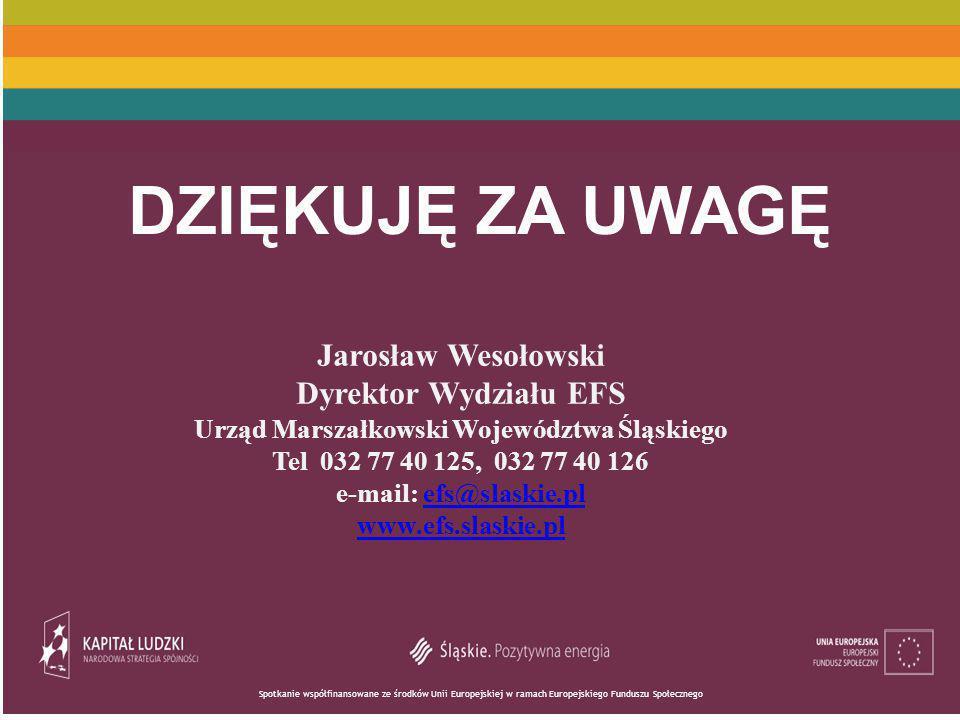 Urząd Marszałkowski Województwa Śląskiego e-mail: efs@slaskie.pl