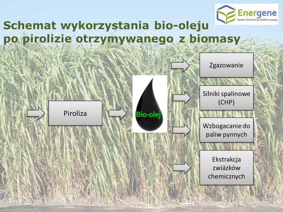 Schemat wykorzystania bio-oleju po pirolizie otrzymywanego z biomasy