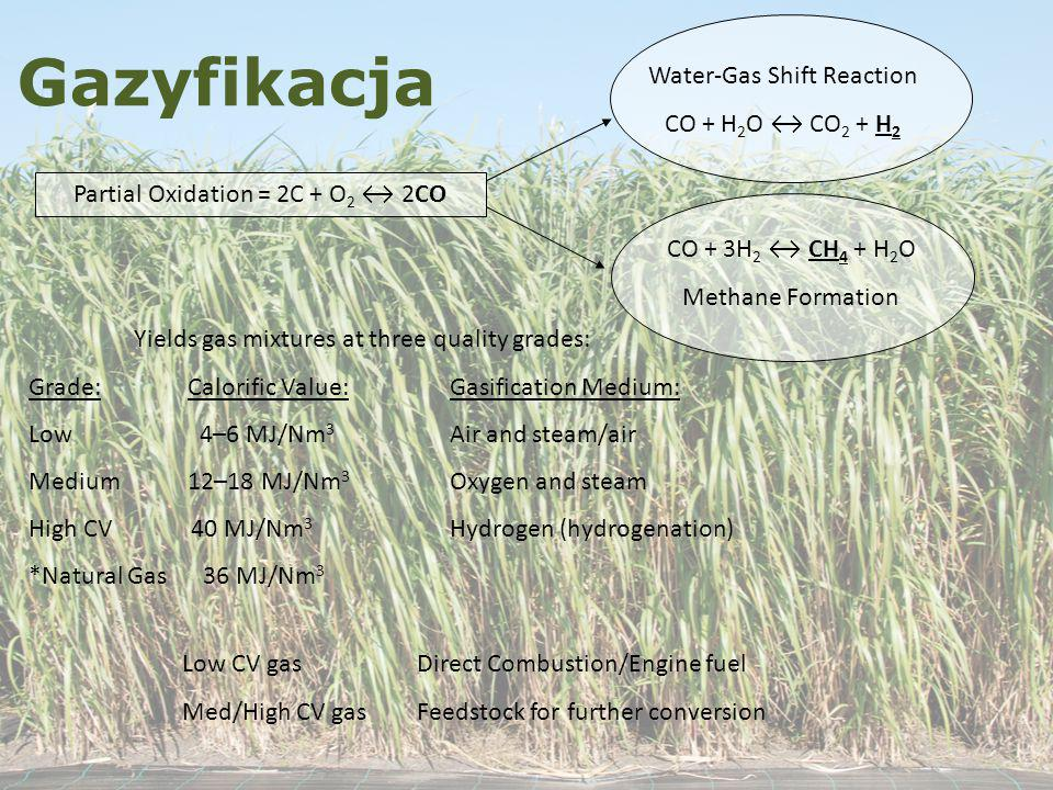 Gazyfikacja Water-Gas Shift Reaction CO + H2O ↔ CO2 + H2
