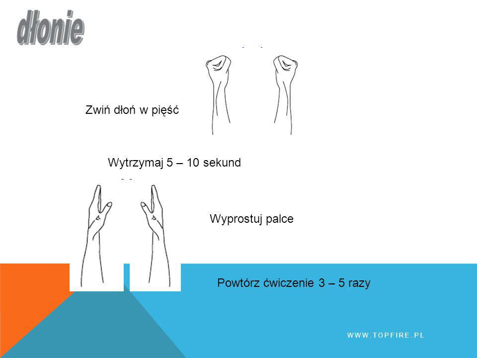 dłonie Zwiń dłoń w pięść Wytrzymaj 5 – 10 sekund Wyprostuj palce