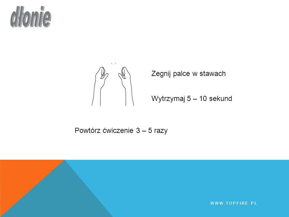 dłonie Zegnij palce w stawach Wytrzymaj 5 – 10 sekund