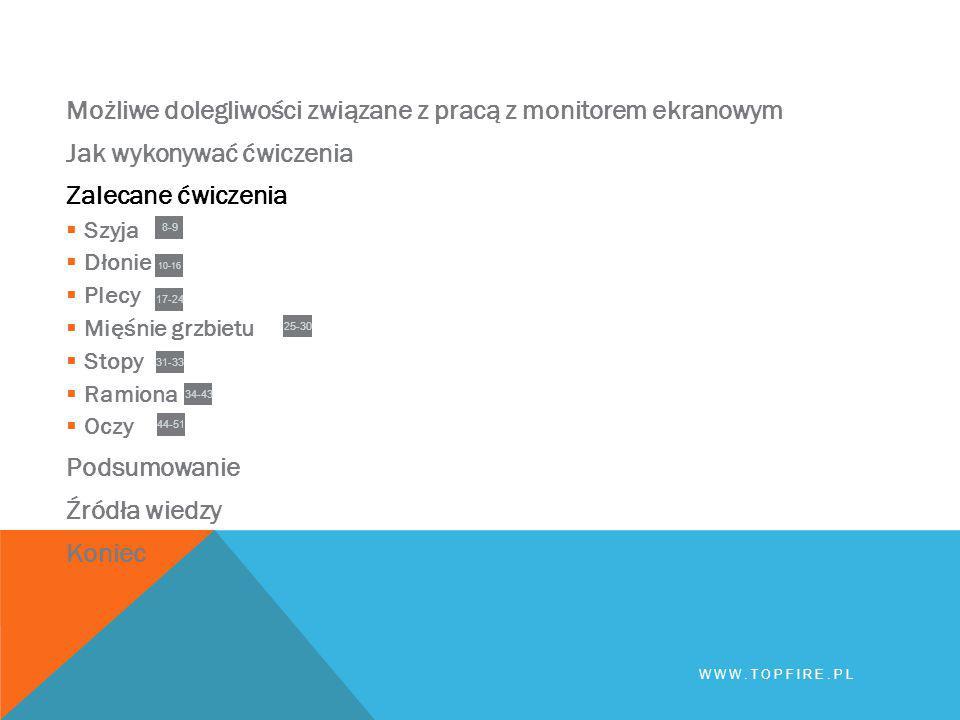 Możliwe dolegliwości związane z pracą z monitorem ekranowym