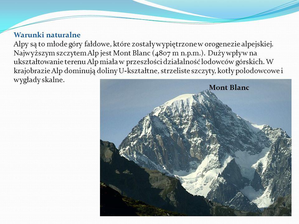 Warunki naturalne Alpy są to młode góry fałdowe, które zostały wypiętrzone w orogenezie alpejskiej. Najwyższym szczytem Alp jest Mont Blanc (4807 m n.p.m.). Duży wpływ na ukształtowanie terenu Alp miała w przeszłości działalność lodowców górskich. W krajobrazie Alp dominują doliny U-kształtne, strzeliste szczyty, kotły polodowcowe i wygłady skalne.