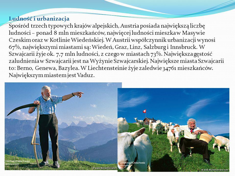 Ludność i urbanizacja Spośród trzech typowych krajów alpejskich, Austria posiada największą liczbę ludności – ponad 8 mln mieszkańców, najwięcej ludności mieszka w Masywie Czeskim oraz w Kotlinie Wiedeńskiej.