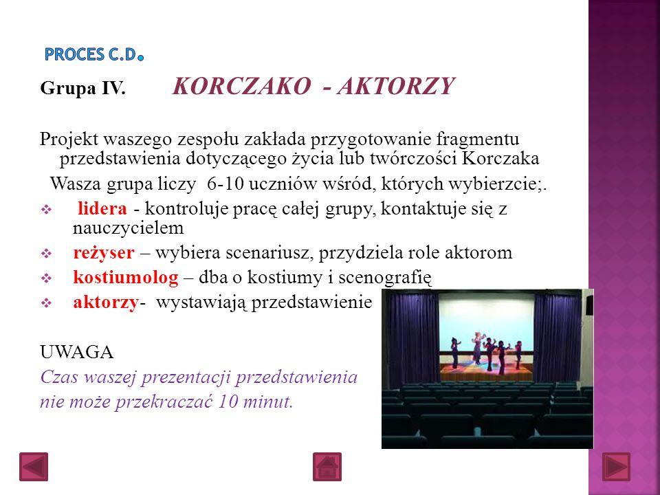 Grupa IV. KORCZAKO - AKTORZY