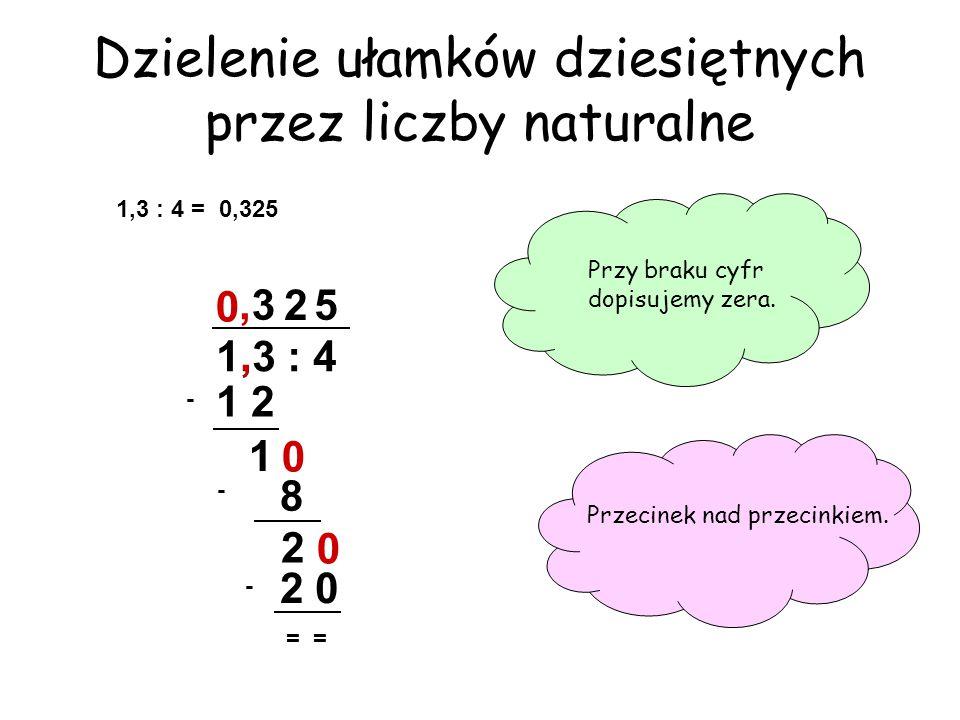 Dzielenie ułamków dziesiętnych przez liczby naturalne