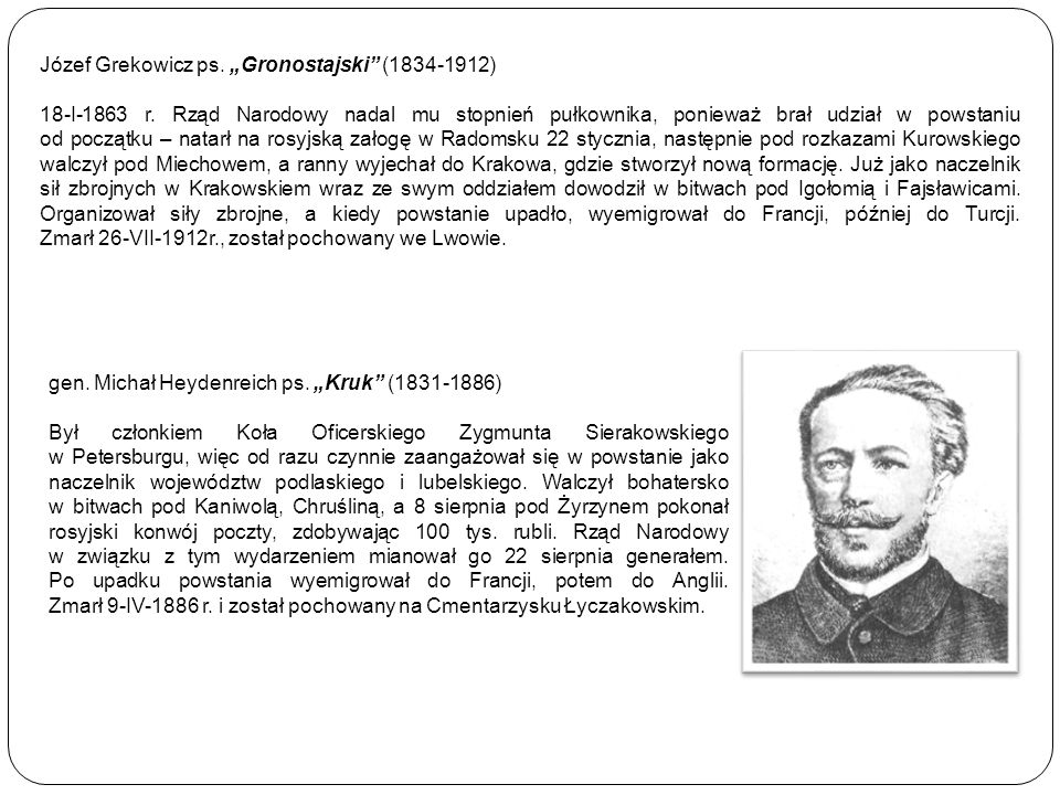 """Józef Grekowicz ps. """"Gronostajski (1834-1912)"""