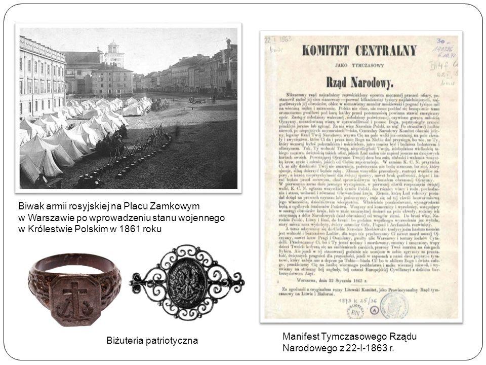 Biwak armii rosyjskiej na Placu Zamkowym w Warszawie po wprowadzeniu stanu wojennego w Królestwie Polskim w 1861 roku