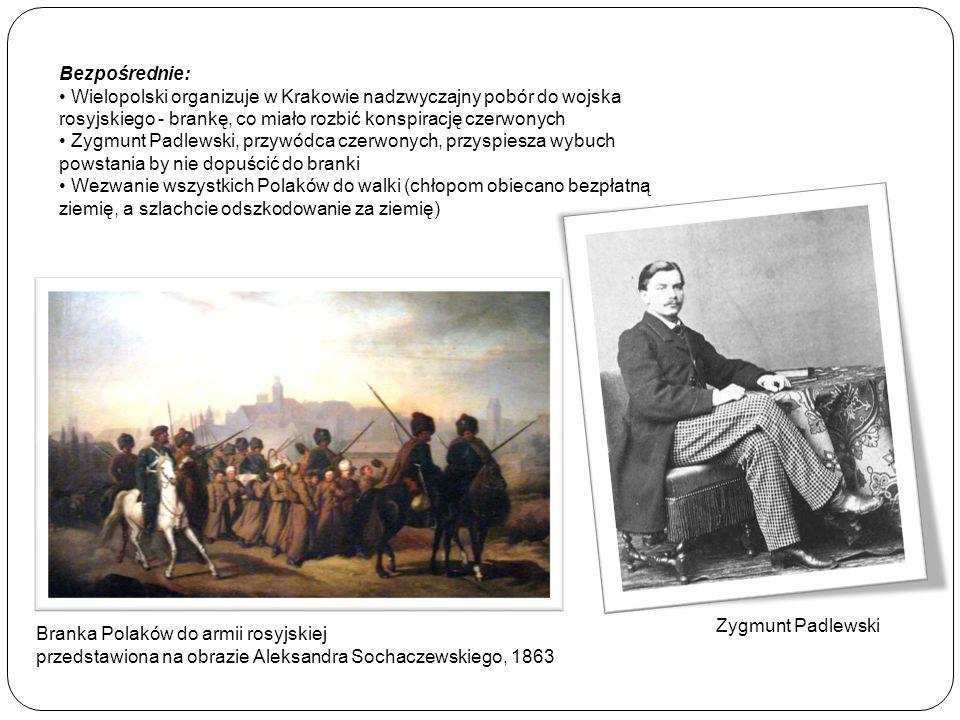 Bezpośrednie: Wielopolski organizuje w Krakowie nadzwyczajny pobór do wojska rosyjskiego - brankę, co miało rozbić konspirację czerwonych.