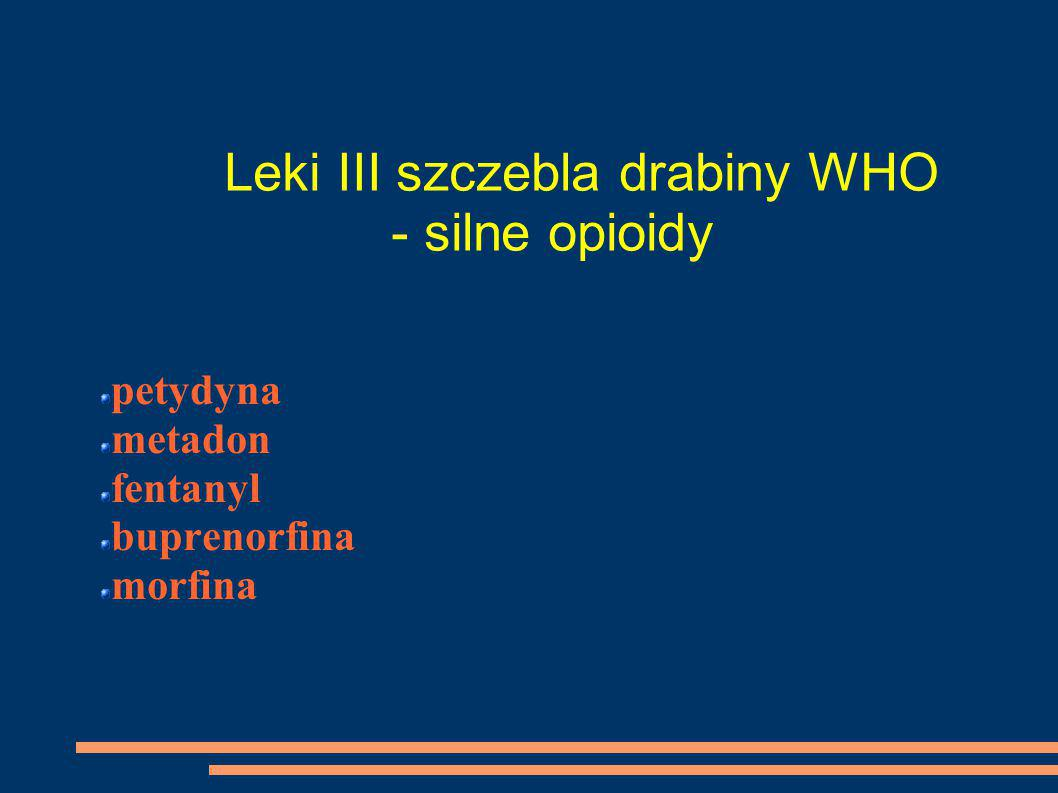 Leki III szczebla drabiny WHO - silne opioidy