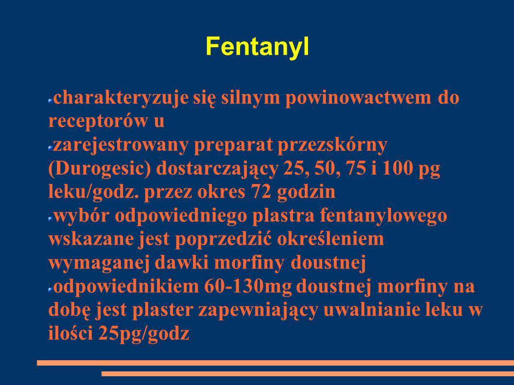 Fentanyl charakteryzuje się silnym powinowactwem do receptorów u