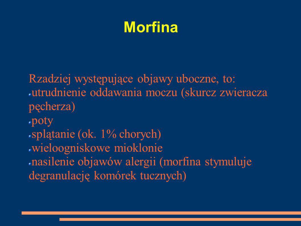 Morfina Rzadziej występujące objawy uboczne, to: