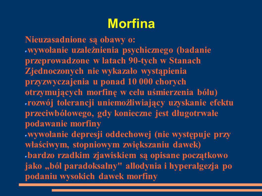Morfina Nieuzasadnione są obawy o: