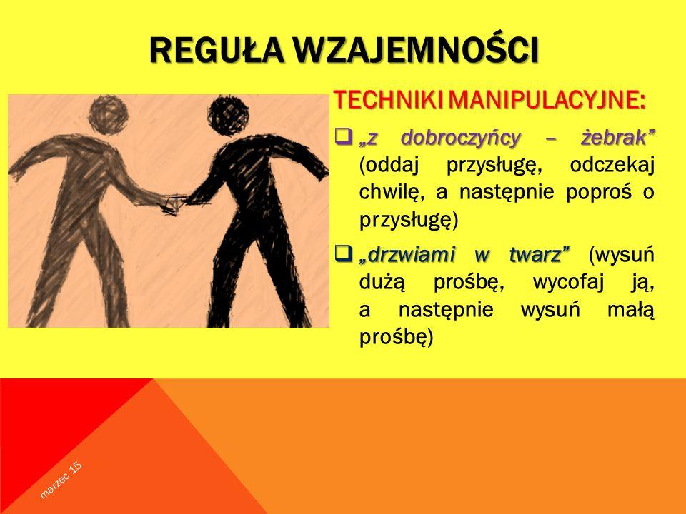 Reguła wzajemności TECHNIKI MANIPULACYJNE: