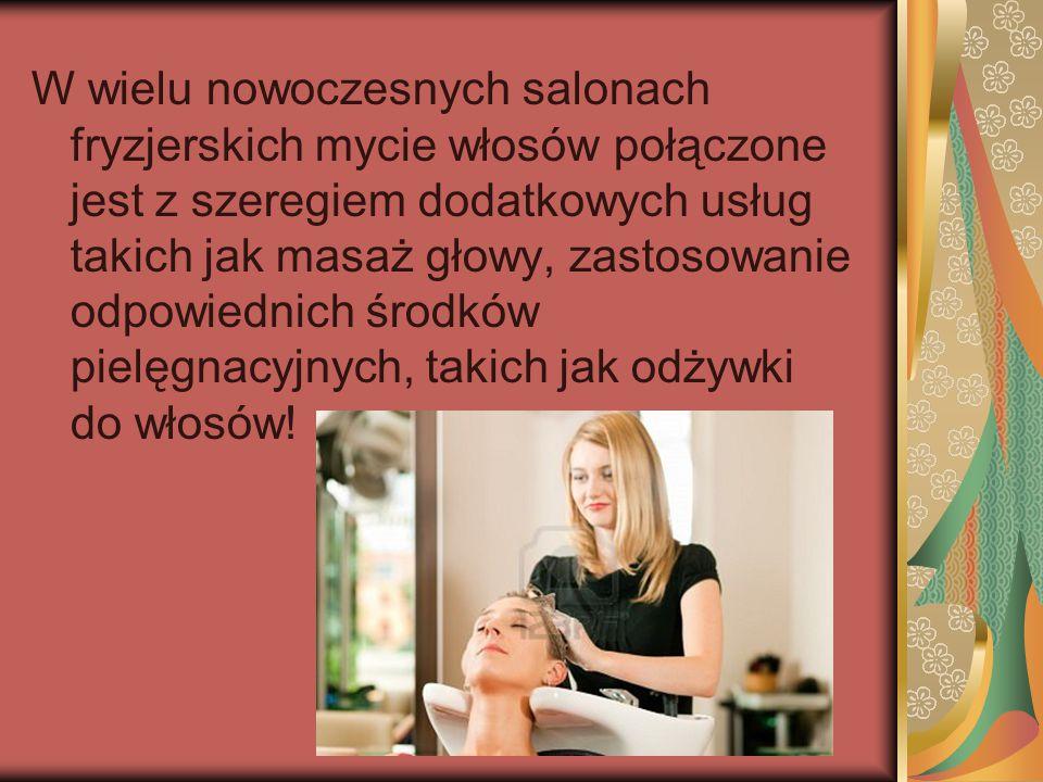 W wielu nowoczesnych salonach fryzjerskich mycie włosów połączone jest z szeregiem dodatkowych usług takich jak masaż głowy, zastosowanie odpowiednich środków pielęgnacyjnych, takich jak odżywki do włosów!