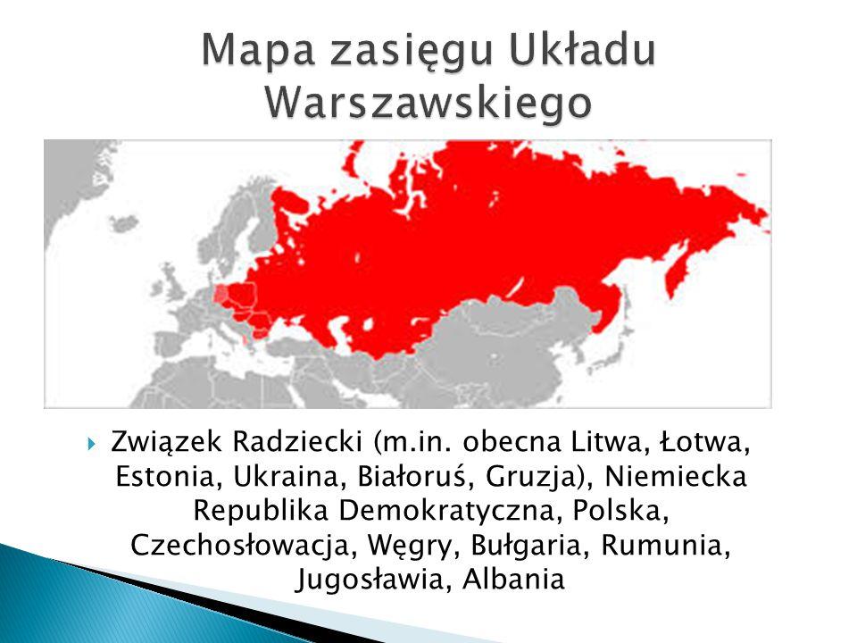 Mapa zasięgu Układu Warszawskiego