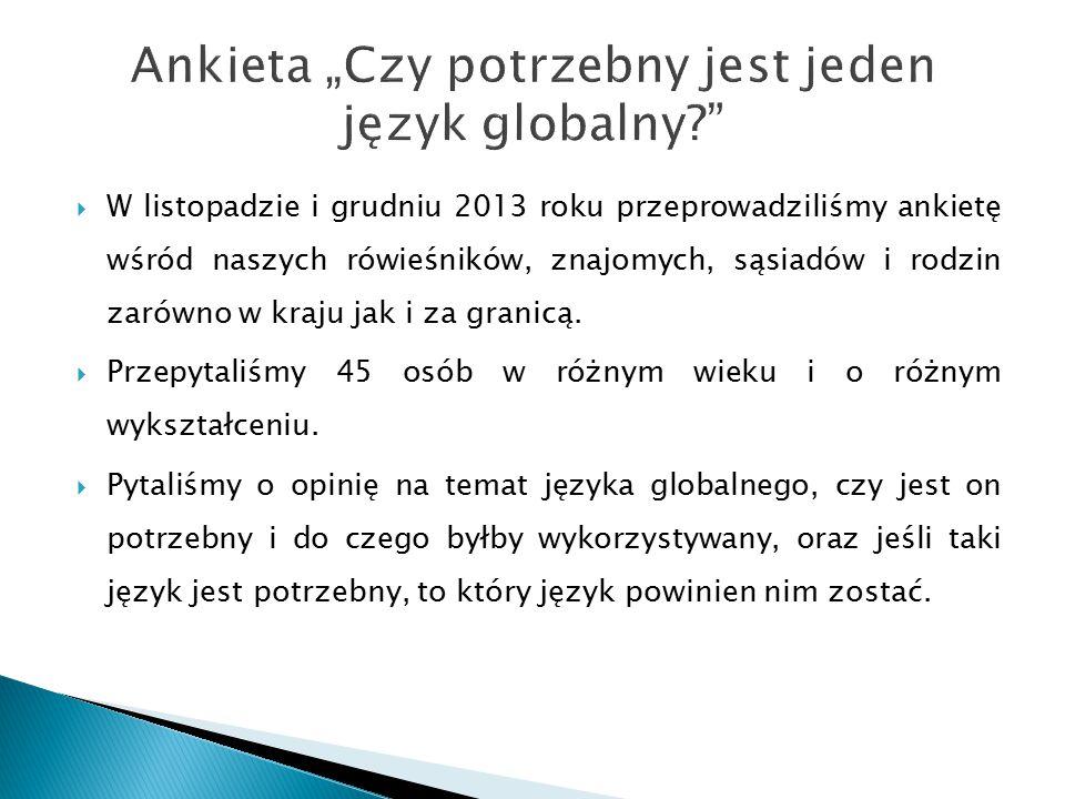 """Ankieta """"Czy potrzebny jest jeden język globalny"""