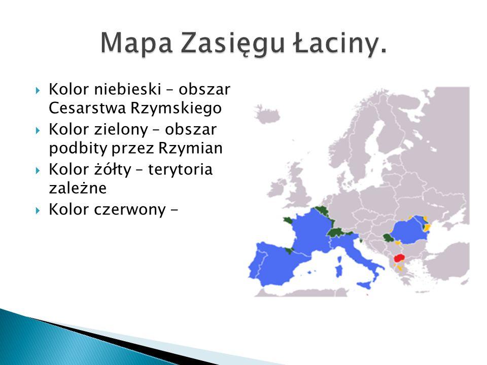 Mapa Zasięgu Łaciny. Kolor niebieski – obszar Cesarstwa Rzymskiego