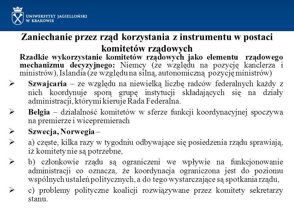 Zaniechanie przez rząd korzystania z instrumentu w postaci komitetów rządowych