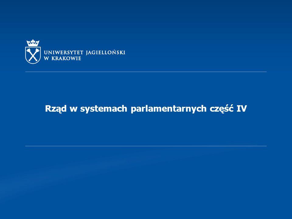 Rząd w systemach parlamentarnych część IV