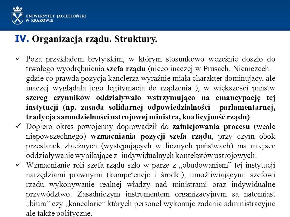 IV. Organizacja rządu. Struktury.