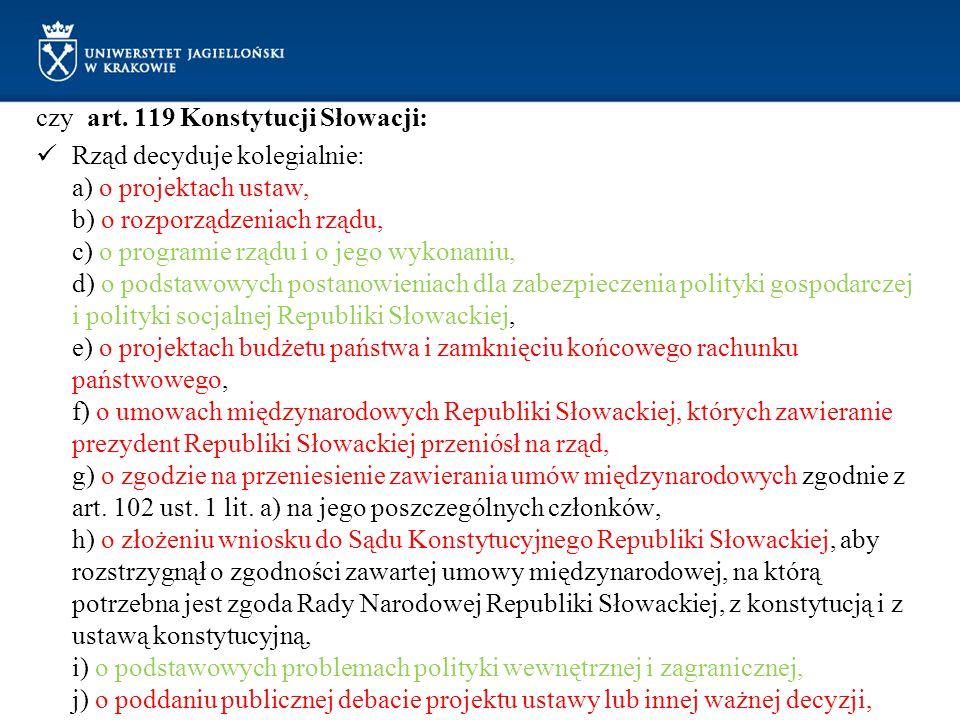 czy art. 119 Konstytucji Słowacji: