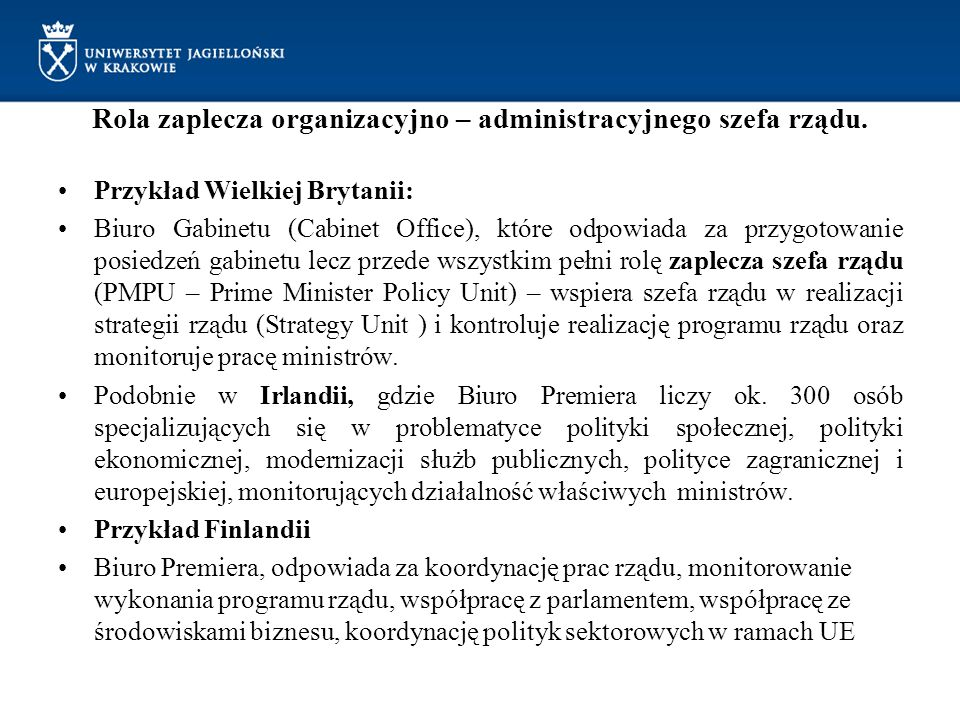 Rola zaplecza organizacyjno – administracyjnego szefa rządu.