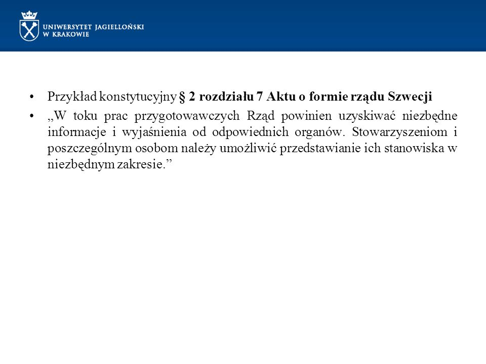 Przykład konstytucyjny § 2 rozdziału 7 Aktu o formie rządu Szwecji