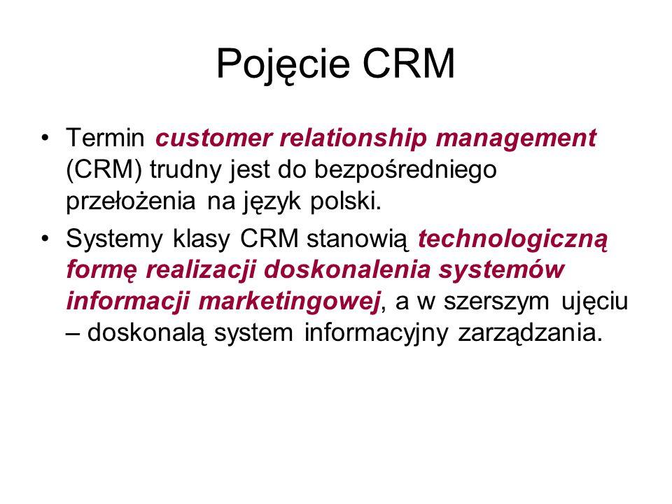 Pojęcie CRM Termin customer relationship management (CRM) trudny jest do bezpośredniego przełożenia na język polski.