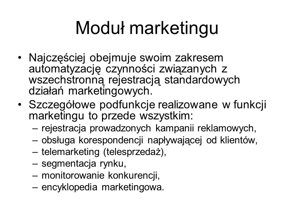 Moduł marketingu