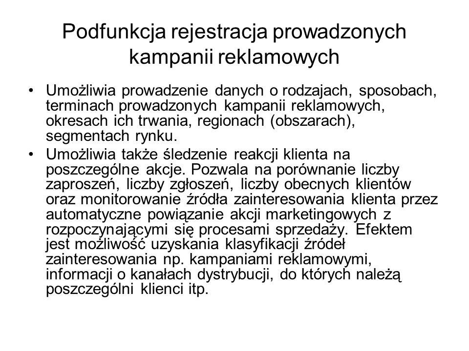 Podfunkcja rejestracja prowadzonych kampanii reklamowych