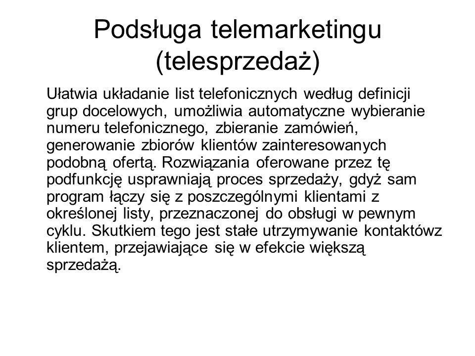 Podsługa telemarketingu (telesprzedaż)