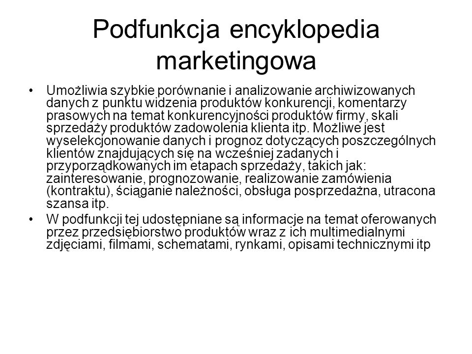 Podfunkcja encyklopedia marketingowa