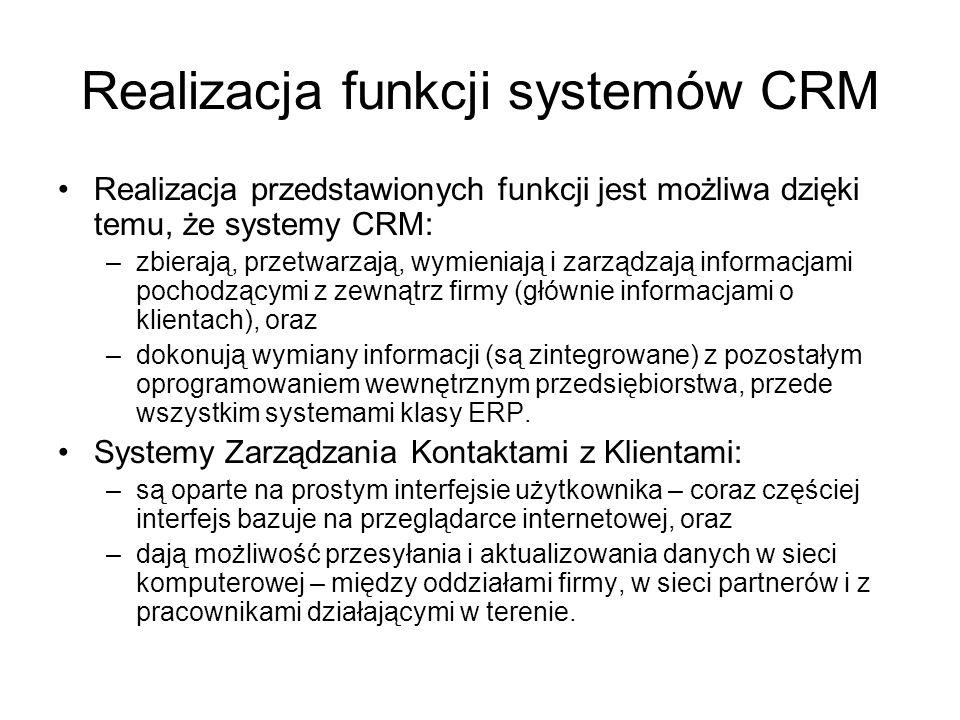 Realizacja funkcji systemów CRM