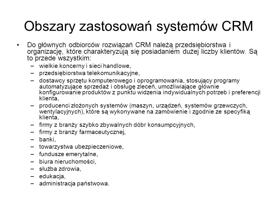 Obszary zastosowań systemów CRM