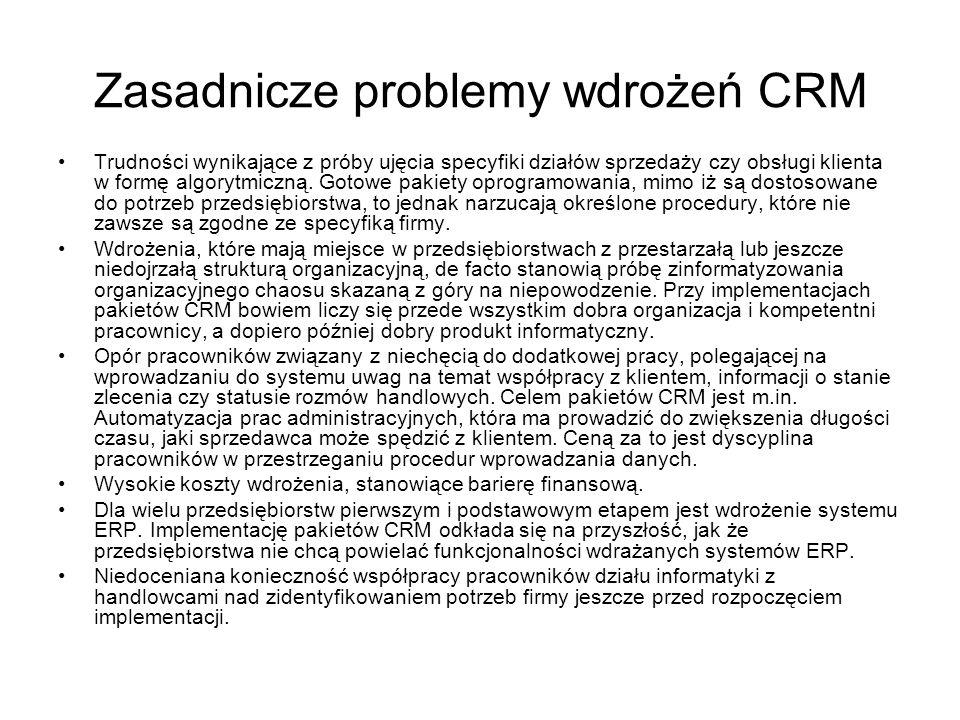 Zasadnicze problemy wdrożeń CRM