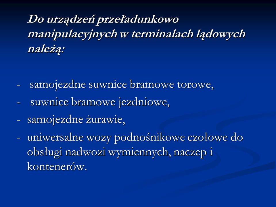 Do urządzeń przeładunkowo manipulacyjnych w terminalach lądowych należą: