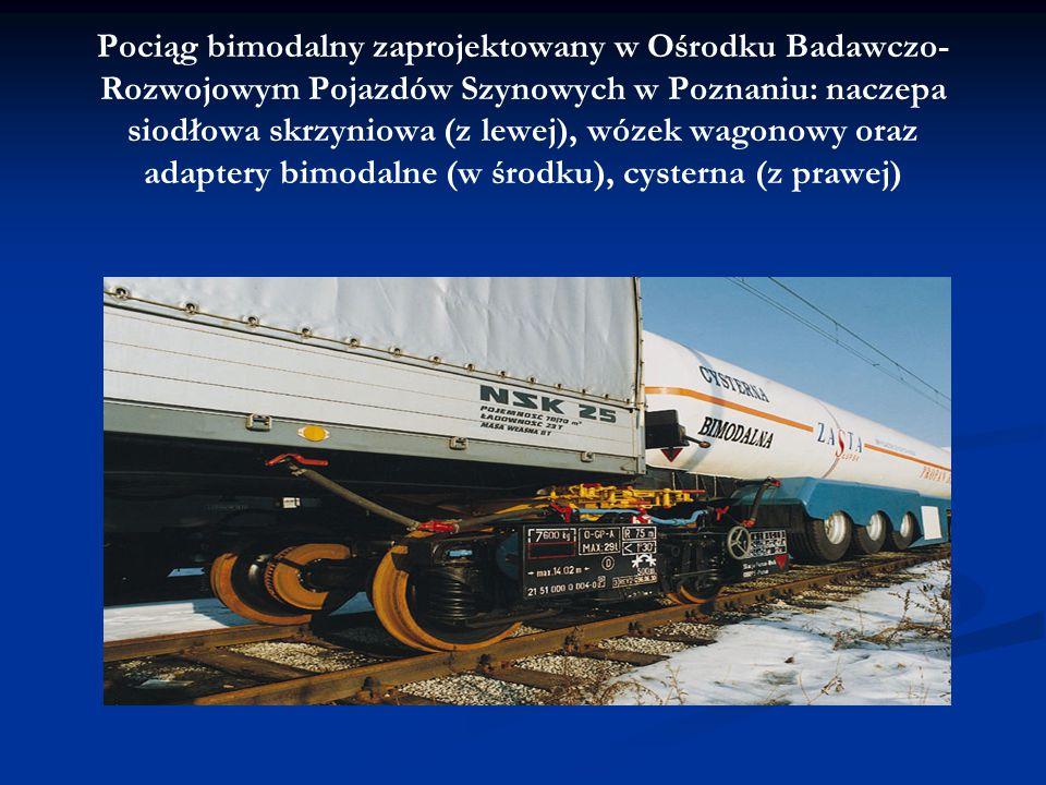 Pociąg bimodalny zaprojektowany w Ośrodku Badawczo-Rozwojowym Pojazdów Szynowych w Poznaniu: naczepa siodłowa skrzyniowa (z lewej), wózek wagonowy oraz adaptery bimodalne (w środku), cysterna (z prawej)